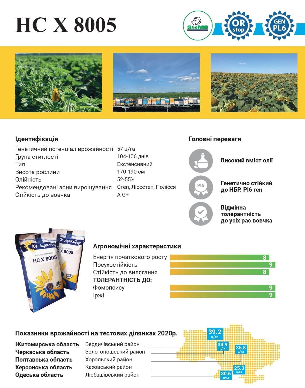 Семена Подсолнечника НС Х 8005 Описание и Характеристика